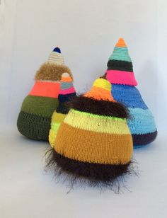 Knitted objects Stine Leth 'Dutter'/ 'cones'