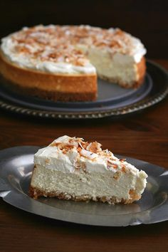Sugar Free Coconut Cheesecake with a slice on a plate and the rest of the cake in the background Sugar Free Recipes, Cupcake Recipes, Baking Recipes, Snack Recipes, Dessert Recipes, Keto Recipes, Keto Pasta Recipe, Low Carb Cheesecake Recipe, Coconut Cheesecake