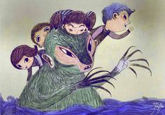 monster island. children and monster travelling across the oceans