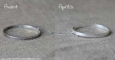 Entretien de l'argent. Déposez l'objet sur l'alu dans un petit récipient. Versez l'eau bouillante et ajoutez +/- 1 CC de bicarbonate de soude. Laissez agir 20 min. S'il reste un peu de saletés frottez avec une brosse à dents et un peu de bicarbonate qui se sera déposé sur l'aluminium. Essuyez avec un torchon. Natural Cleaning Products, Facon, Cleaning Hacks, Jewelery, Silver Rings, Bracelets, Diy, Mets, Place