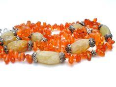 Gemstone Beaded Necklace Carnelian Calcite by TheJewelryLadysStore