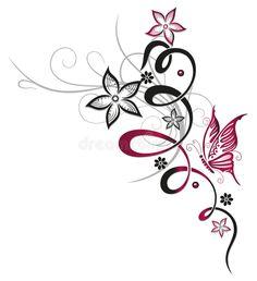 Ranke mit Blumen und Schmetterling Tendril with blossoms and butterfly Pink Ranke mit Blumen und Schmetterling Tendril with blossoms and butterfly Pink Christine Krahl Tattoo Ideas from Christine Krahl nbsp hellip Vine Tattoos, Leg Tattoos, Flower Tattoos, Body Art Tattoos, Small Tattoos, Sleeve Tattoos, Tattoo Floral, Ribbon Tattoos, Butterfly Tattoo Designs