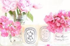 Diptyque + flowers make a house a home // have always wanted one of these candles. love the label design