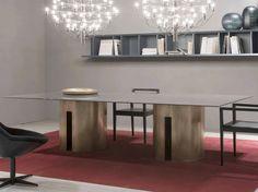 Mesa de jantar retangular Coleção Gong by Meridiani | design Andrea Parisio