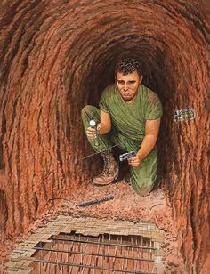 """Booby trap in a tunnel"" - Vietnam war Tunnel rats were the men who went into the Viet Cong Tunnels to try and eveict them. Military Guns, Military Art, Military History, Vietnam History, Vietnam War Photos, Military Drawings, My War, American War, Vietnam Veterans"