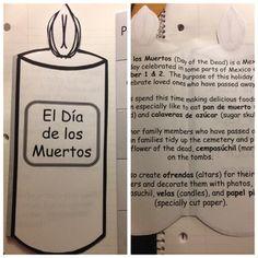 Day of the Dead/ Día de los Muertos- Flap Notebook Activity Middle School Spanish, Elementary Spanish, Spanish Classroom, Teaching Spanish, Elementary Schools, Teaching Resources, Spanish Lesson Plans, Spanish Lessons, Spanish Activities