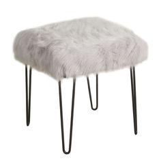 Arevalo Faux Fur Square Stool