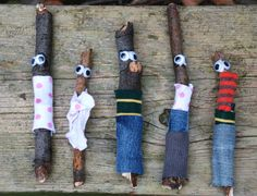 Little stick men. Hot glue googly eyes and either scraps of fabric or ribbons to create clothes. Add to the Dramatic Play center! The kids could even help make these!