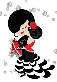 Flamenco Costume, Flamenco Dancers, Spanish Dancer, Spanish Art, Retro Vector, Dance Art, Street Art Graffiti, Love Painting, Pebble Art