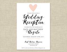 Printable Wedding Reception Invitation Celebration After Party Custom