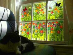 Painted window and Sam