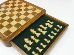 Handcrafted Magnetic Luxury Travel Chess Set With Board! Superb 12 Inch By  12 Inch Sheesham