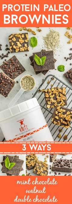 3 ways to make healthy, paleo protein brownies. Gluten free, dairy free, and packed a ton of superfood ingredients