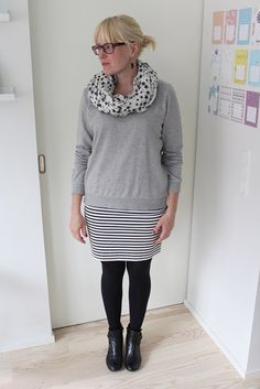 Striped skirt and grey college shirt, September 2013
