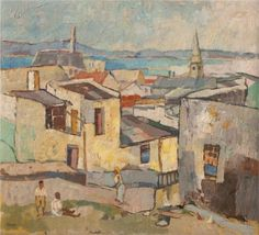 View of Table Bay, Bo-Kaap - Gregoire Boonzaier South Africa Art, South African Artists, Art Database, Minimalist Art, Old Pictures, Van Gogh, Painting Inspiration, Cool Art, Street Art