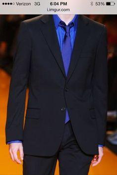b4194951403 Black suit blue shirt blue tie think blue hankie and gold boutonnière with  gold socks