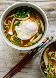 Udon Noodle Soup with Bok Choy and Poached Egg Recipe. Looking for recipes and ideas for fast and easy weeknight meals and dinners? This hearty and simple vegetarian (or not!) Japanese soup is ready in 15 minutes! perfect light lunch. You'll need vegetable or chicken broth or stock, anise, cinnamon, eggs, fresh or frozen udon noodles, eggs, bok choy, scallions, and soy sauce.
