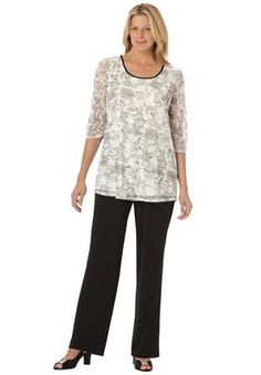 Plus Size Sequined knit tunic top and pants set
