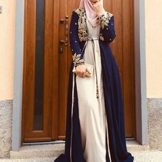 Abaya Fashion 24703 The Blue Embellished Jacket has been very popular since it's release! Would you like similar styles to be launched? Islamic Fashion, Muslim Fashion, Modest Fashion, Fashion Dresses, Modest Wear, Modest Dresses, Modest Outfits, Estilo Abaya, Abaya Mode
