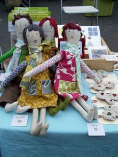 Sewn dolls...Love the mouths!!!