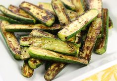 Baby zucchini squash, that turned out great. Cut in half lengthwise and saute in oil on medium heat for two minutes on each side. I added the garlic from the recipe as well as added an Egyptian spice mix, turned out pretty well.