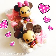 Mickey and Minnie baby decoden kawaii sweets phone case for iPhone Samsung Galaxy Mini, Ace favorite thing ever Girly Phone Cases, Ipod Cases, Coque Iphone, Iphone 4, Kawaii Diy, Kawaii Stuff, Decoden Phone Case, Biscuit, Cute Cases