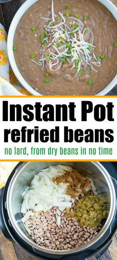 Homemade Instant Pot refried beans with no lard used. Dry beans tender and flavorful. Homemade Instant Pot refried beans with no lard used. Dry beans tender and flavorful. Best Instant Pot Recipe, Instant Recipes, Instant Pot Dinner Recipes, Instant Pot Meals, Recipes Dinner, Pressure Cooker Refried Beans, Pressure Cooker Recipes, Pressure Cooking, Crockpot Recipes