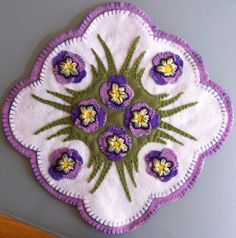 Pansies in the grass penny rug wool felt by MaryEllensDooDads, $75.00
