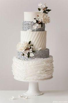 Tartas de Boda - Wedding Cake - All the different textures on this white & silver wedding cake are divine! // Cake by Jenna Rae Cakes Gorgeous Cakes, Pretty Cakes, Amazing Wedding Cakes, Amazing Cakes, Wedding Cake Inspiration, Wedding Ideas, Rustic Wedding, Elegant Wedding, Glamorous Wedding