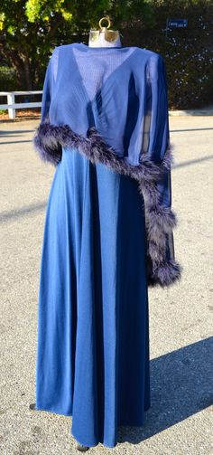 Vintage Blue Gown with Feathered Capelet by LetThemEatCakeLA, $120.00