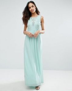 Club L Bridesmaid Maxi Dress With Rose Embroidery<3