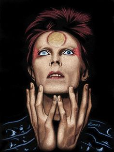 Space Oddity by artist Marco Almera.This giclee art print pays tribute to legend David Bowie aka Ziggy Stardust.Giclee fine art reproductions on canvas.A Canvas Giclee is a gallery wrapped canvas prin