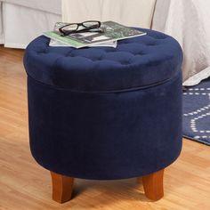 HomePop Large Button-tufted Round Storage Ottoman
