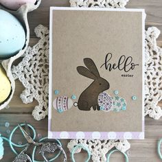 Heather Nichols   papertrey ink february release: bunny blessings + egg stripes + big egg + penned elegance   hello easter