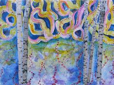 """Magical Sky"" Mixed Media Collage Painting Falling From The Sky, Aspen Trees, Mixed Media Collage, Original Paintings, The Originals, Create, Artist, How To Make, Pink"