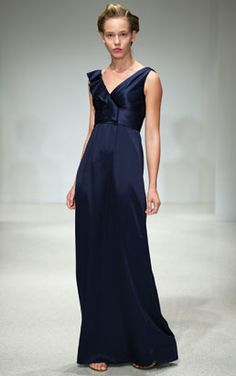 Amsale Bridesmaid in French Blue Charmeuse. A dress that would like good on many figure types.