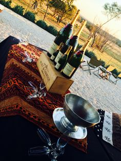 On a Classic Safari Picnic we are celebrating sunsets with champagne, with Hayward's Grand Safaris.