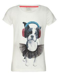 Stud Embellished Dog Print T-Shirt Clothing