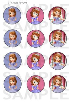 INSTANT DOWNLOAD - Princess Sofia the First Party Favor Cupcake Toppers - Digital Cupcake Toppers