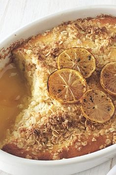 Lemon curd makes this winter crumble pudding a little lighter and brighter, but a no-less-delicious dessert. #lemoncurd #dessert #pudding #sweets #australia #australian #australianrecipes Self Saucing Pudding, Australian Food, Crumble Topping, Limes, Lemon Curd, Pudding Recipes, The Dish, Lighter, Delicious Desserts