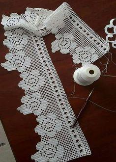 Crochet Lace Edging, Crochet Motifs, Crochet Borders, Crochet Stitches Patterns, Crochet Doilies, Crochet Flowers, Diy Crafts Crochet, Crochet Home, Love Crochet