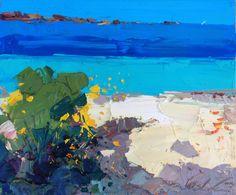 Italian original painting abstract beach Sardinia sea seascape modern art oil on canvas 50x70 cm Sardegna Italy italia