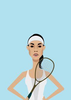 Vector Portrait of Nicol David, Malaysian Squash Player.