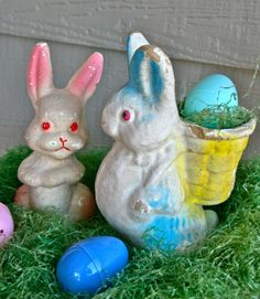 Vintage paper mache rabbits. Candy containers from the 1920s-1950s.