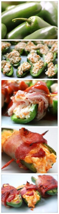 Stuffed jalapeños filled with creamy cheese and crunchy bacon aren't for the faint of heart or tongue..YUM!