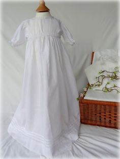 Vintage Handmade Lightweight Cotton Christening or Baptism Dress or Gown. To fit 6 months or younger. Stocked by Lilys Vintage Linens shop on Etsy, specialist in white fabric antiques, always good quality and condition.