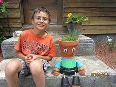 Jeremy's first clay pot people