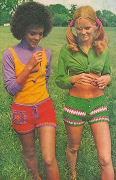 1970s ladies in crochet shorts, color blocking before it was cool