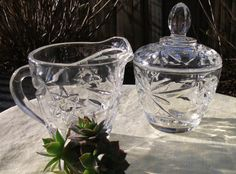Items similar to Sugar Bowl and Creamer Anchor Hocking clear EAPC glass Star of David on Etsy Vintage Dishes, Vintage Glassware, Anchor Hocking Glassware, Milk Glass Candy Dish, Sugar Bowls And Creamers, Crystal Glassware, Star Of David, Cream And Sugar, Early American