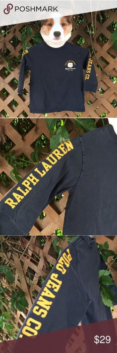 {RL} Navy + Yellow Logo Long Sleeve Tee 3T EUC! Barely worn! No signs of wear or damage! Navy blue long sleeve t-shirt with yellow and white text and logo. Classic American cool for your little guy. Fits true to size. 100% Cotton. Offers warmly welcomed! Polo by Ralph Lauren Shirts & Tops Tees - Long Sleeve